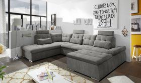 Couch NALO Sofa Schlafcouch Wohnlandschaft Bettsofa braun-schwarz U-Form links1