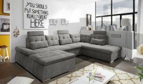 Couch NALO Sofa Schlafcouch Wohnlandschaft Bettsofa braun-schwarz U-Form rechts1