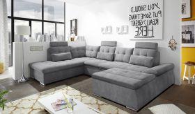 Couch NALO Sofa Schlafcouch Wohnlandschaft Bettsofa dunkelgrau U-Form links1