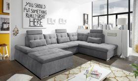 Couch NALO Sofa Schlafcouch Wohnlandschaft Bettsofa dunkelgrau U-Form rechts1