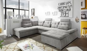 Couch NALO Sofa Schlafcouch Wohnlandschaft Bettsofa schlamm grau U-Form links1