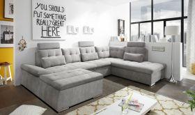 Couch NALO Sofa Schlafcouch Wohnlandschaft Bettsofa schlamm grau U-Form rechts1