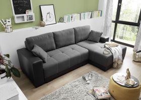 Couch Schlafsofa Sofabett Funktionssofa ausziehbar Lederlook schwarz 240 cm1