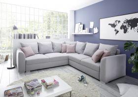 Couch Sofa Eckcouch Ecksofa Schlafsofa Schlafcouch Wohnlandschaft 274cm silber1