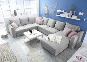 Couch Sofa Eckcouch Ecksofa Schlafsofa Schlafcouch Wohnlandschaft 361cm hellgrau1