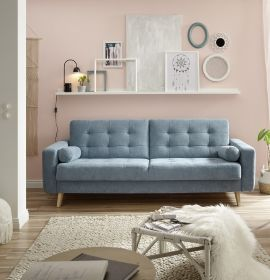 Couch Sofa Schlafcouch Schlafsofa Schlaffunktion Zweisitzer blau denim 222 cm1