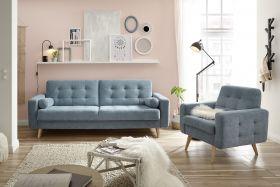 Couch Sofa Sessel Schlafcouch Schlafsofa Schlaffunktion Zweisitzer blau denim1