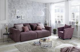 Couch Sofa Zweisitzer LAZY Schlafcouch Schlafsofa ausziehbar lila 250cm1