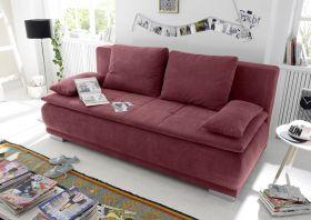 Couch Sofa Zweisitzer LUIGI Schlafcouch Schlafsofa ausziehbar berry rot 208cm1