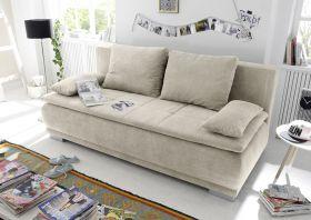 Couch Sofa Zweisitzer LUIGI Schlafcouch Schlafsofa ausziehbar sand beige 208cm1