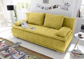 Couch Sofa Zweisitzer LUIGI Schlafcouch Schlafsofa ausziehbar senf gelb 208cm1