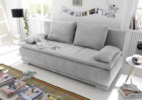 Couch Sofa Zweisitzer LUIGI Schlafcouch Schlafsofa ausziehbar silber 208cm1