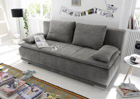 Couch Sofa Zweisitzer LUIGI Schlafcouch Schlafsofa ausziehbar stone grau braun1