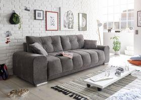 Couch Sofa Zweisitzer PACO Schlafcouch Schlafsofa ausziehbar braun-schwarz 260cm1