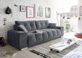 Couch Sofa Zweisitzer PACO Schlafcouch Schlafsofa ausziehbar dunkelgrau 260cm1