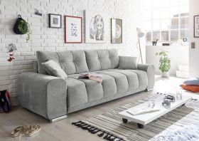 Couch Sofa Zweisitzer PACO Schlafcouch Schlafsofa ausziehbar grau 260cm1