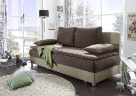 Couch SVENJA Schlafsofa Sofabett Funktionssofa ausziehbar braun-beige 208cm1