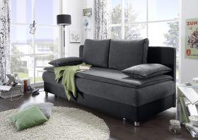 Couch SVENJA Schlafsofa Sofabett Funktionssofa ausziehbar grau-schwarz 208cm1