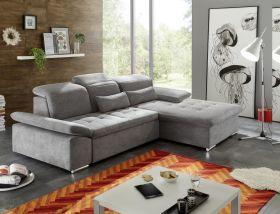 Couch WAYNE Echsofa Sofa Schlafcouch Bettsofa Sofabett dunkelgrau L-Form rechts1