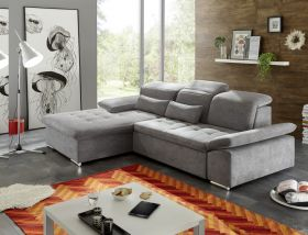 Couch WAYNE Ecksofa Sofa Schlafcouch Bettsofa Sofabett dunkelgrau L-Form links1