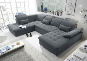 Couch WAYNE L Sofa Schlafcouch Wohnlandschaft Schlaffunktion anthrazit U-Form1