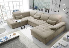 Couch WAYNE L Sofa Schlafcouch Wohnlandschaft Schlaffunktion beige sand U-Form1