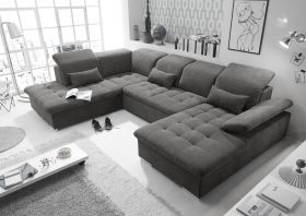 Couch WAYNE L Sofa Schlafcouch Wohnlandschaft Schlaffunktion braunschwarz U-Form1