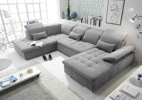 Couch WAYNE L Sofa Schlafcouch Wohnlandschaft Schlaffunktion dunkelgrau U-Form1