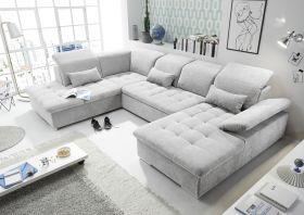 Couch WAYNE L Sofa Schlafcouch Wohnlandschaft Schlaffunktion hellgrau U-Form1