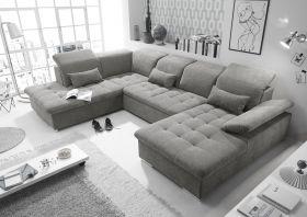Couch WAYNE L Sofa Schlafcouch Wohnlandschaft Schlaffunktion schlamm grau U-Form1