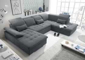 Couch WAYNE R Sofa Schlafcouch Wohnlandschaft Schlaffunktion anthrazit U-Form1
