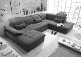 Couch WAYNE R Sofa Schlafcouch Wohnlandschaft Schlaffunktion braunschwarz U-Form1