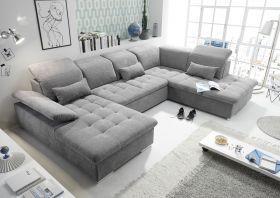 Couch WAYNE R Sofa Schlafcouch Wohnlandschaft Schlaffunktion dunkelgrau U-Form1