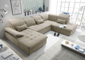 Couch WAYNE R Sofa Schlafcouch Wohnlandschaft Schlaffunktion sand beige U-Form1