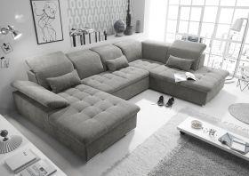 Couch WAYNE R Sofa Schlafcouch Wohnlandschaft Schlaffunktion schlamm grau U-Form1