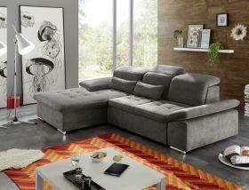 Couch WAYNE Sofa Schlafcouch Bettsofa Sofabett braun schwarz L-Form links1