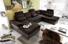 Couch Wohnlandschaft Schlaffunktion Schlafsofa braun schwarz Ottomane rechts1