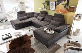 Couch Wohnlandschaft Schlaffunktion Schlafsofa dunkelgrau grau Ottomane links1