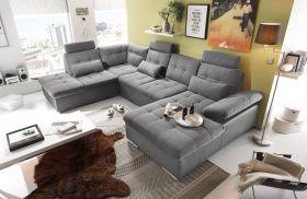 Couch Wohnlandschaft Schlaffunktion Schlafsofa grau grau hell Ottomane links1