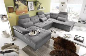 Couch Wohnlandschaft Schlaffunktion Schlafsofa grau grau hell Ottomane rechts1