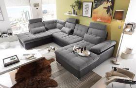 Couch Wohnlandschaft Schlaffunktion Schlafsofa schwarz grau hell Ottomane links1