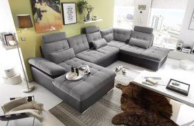 Couch Wohnlandschaft Schlaffunktion Schlafsofa schwarz grau hell Ottomane rechts1