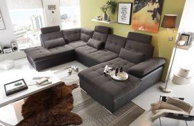Couch Wohnlandschaft Schlaffunktion Schlafsofa schwarz grau Ottomane links1