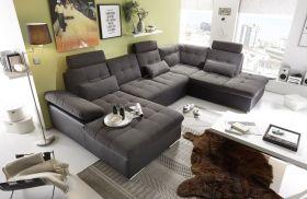 Couch Wohnlandschaft Schlaffunktion Schlafsofa schwarz grau Ottomane rechts1