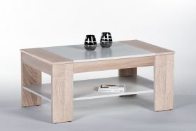 Couchtisch Finley Beistelltisch Wohnzimmertisch Tisch Eiche weiß Schublade 100cm1