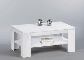 Couchtisch Harrison Beistelltisch Wohnzimmertisch Tisch in Weiß mit Schublade1