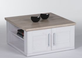 Couchtisch Wohnzimmertisch Beistelltisch Tisch Holz hell quadratisch Landhaus1