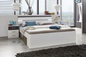 Doppelbett mit Nachtkommoden Bett 180 x 200 cm Ehebett weiß grau Nachtkommoden1