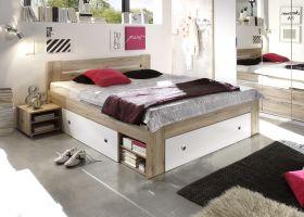Doppelbett mit Nachtkommoden Bett 180cm Ehebett Eiche hell weiß Bettkasten1