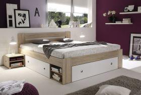 Doppelbett Nachtkommoden Bett 180 x 200 cm Ehebett Eiche Sonoma weiß Bettkasten1